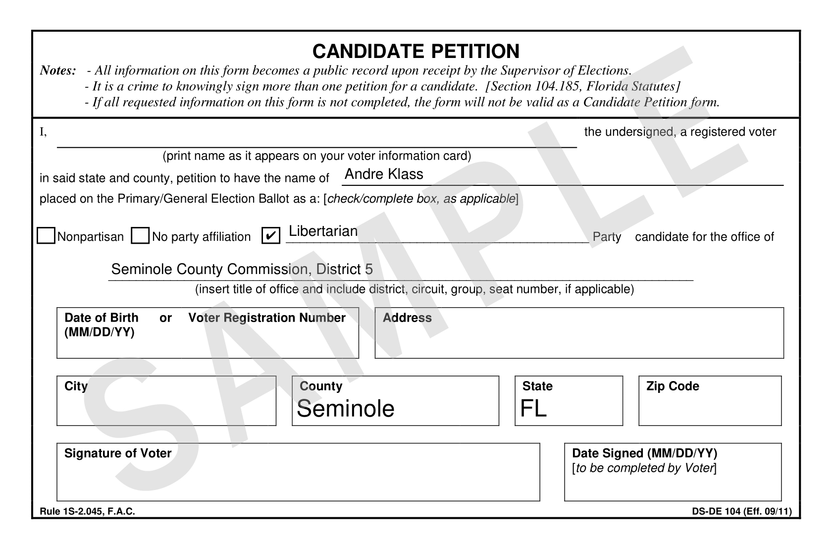 Andre Klass Candidate Petition Sample